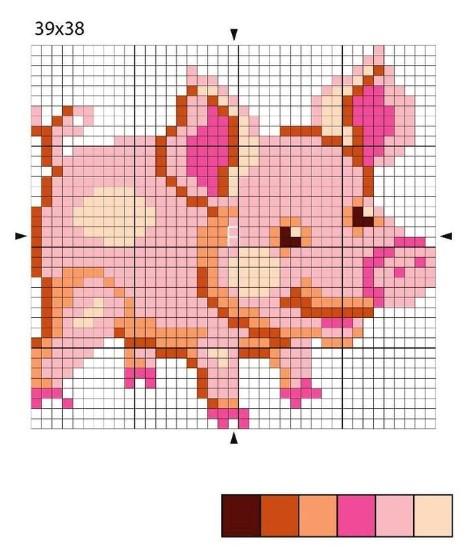 Вышивка свиньи к Новому году 2019